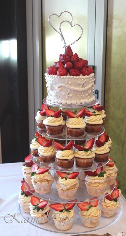 Baked cheesecake and pavlova wedding cupcake tower