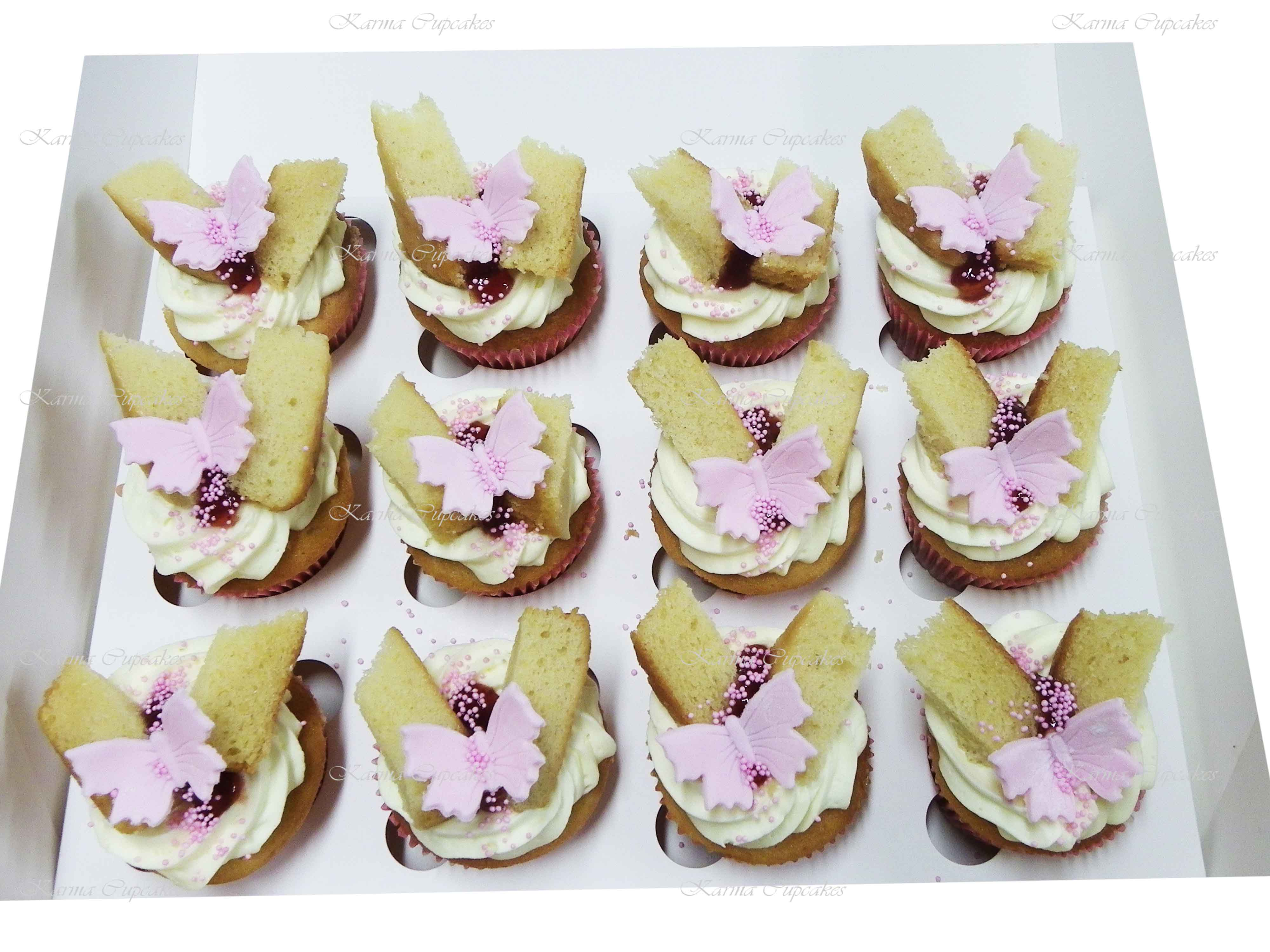 Old Fashioned Fresh Cream & Strawberry Jam Butterfly Cupcakes