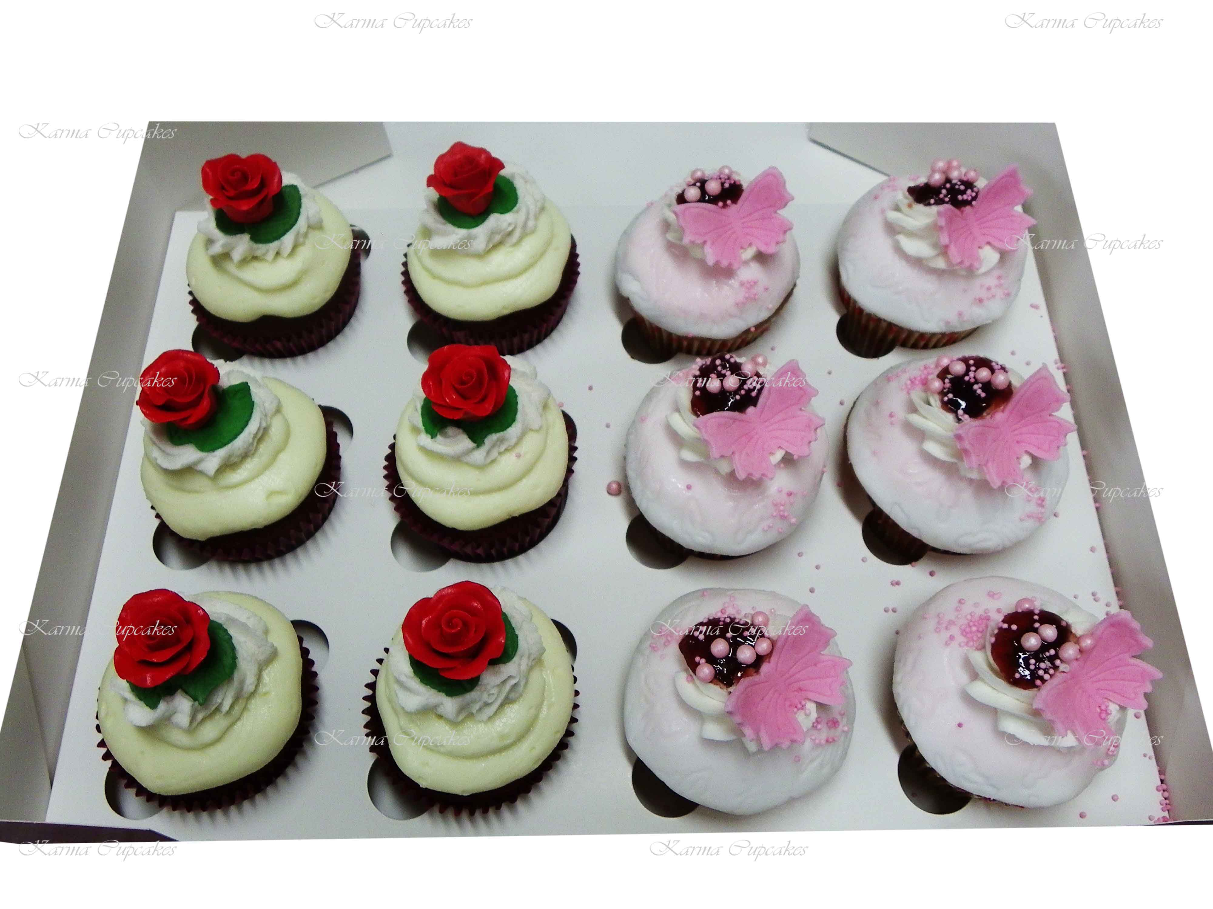 Butterfly and Handmade Roses Cupcakes