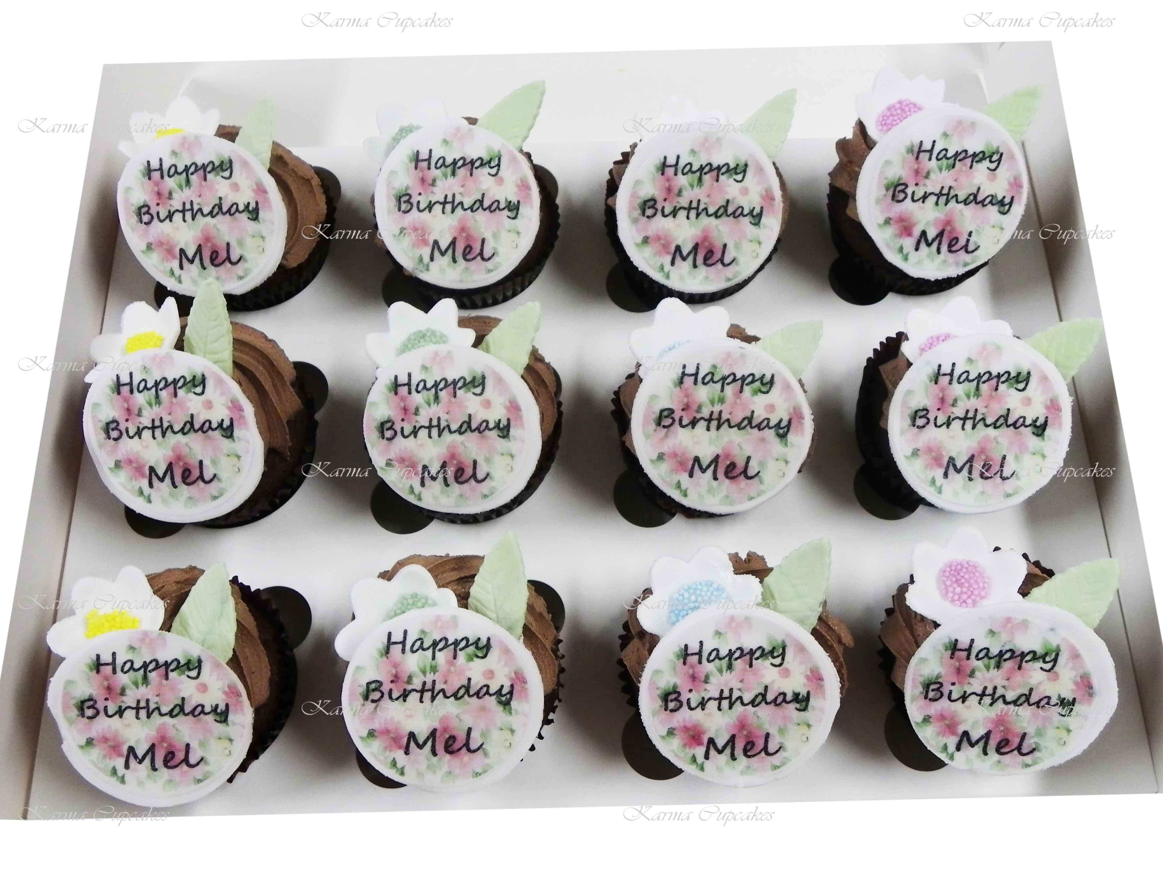 Vegan Birthday Cupcakes with Edible Photo