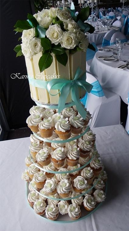 White chocolate classic wedding mini-cupcake tower