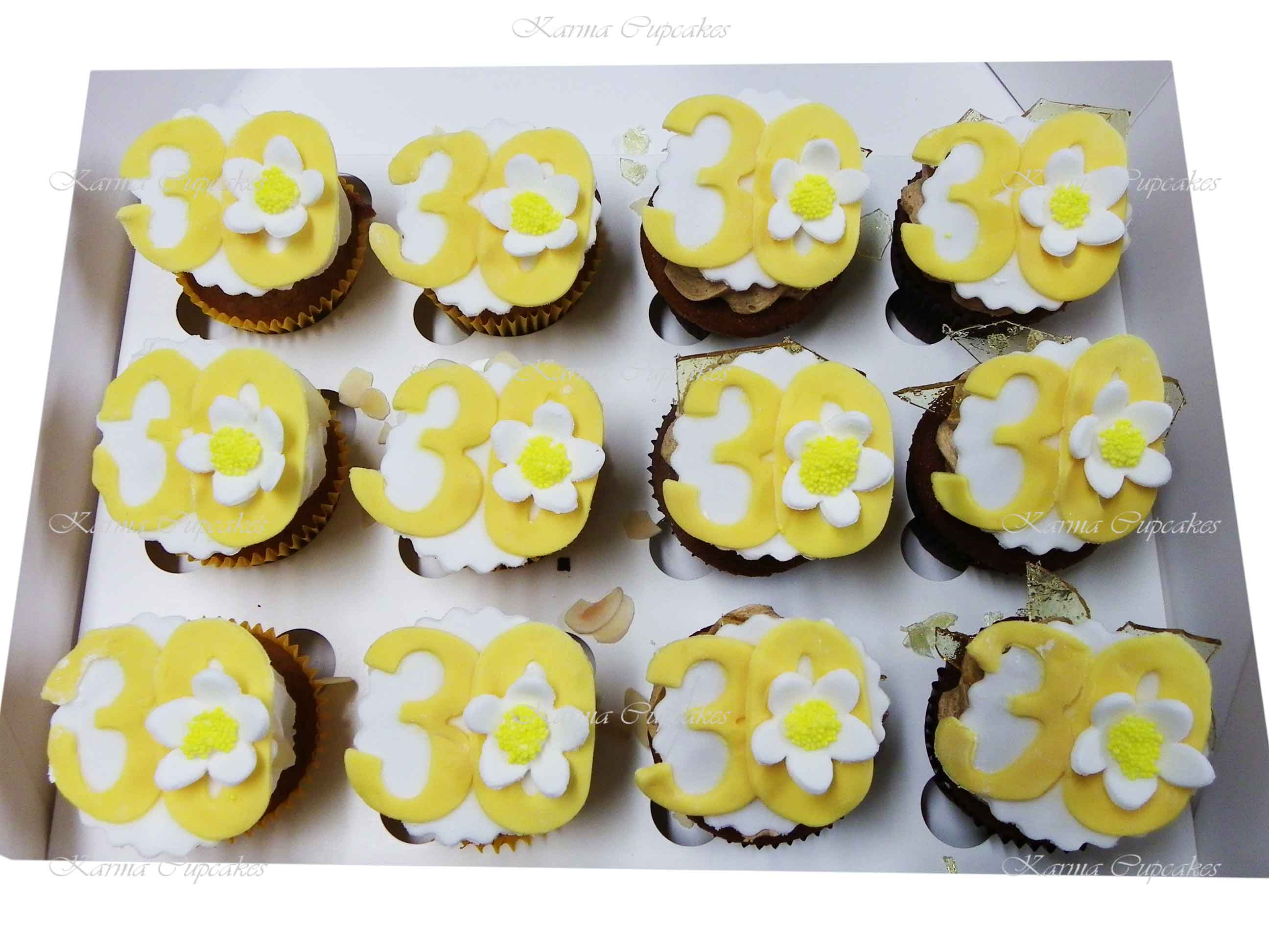 Birthday Cupcakes with Fondant Handcut Number and flower- choose your own colours and number