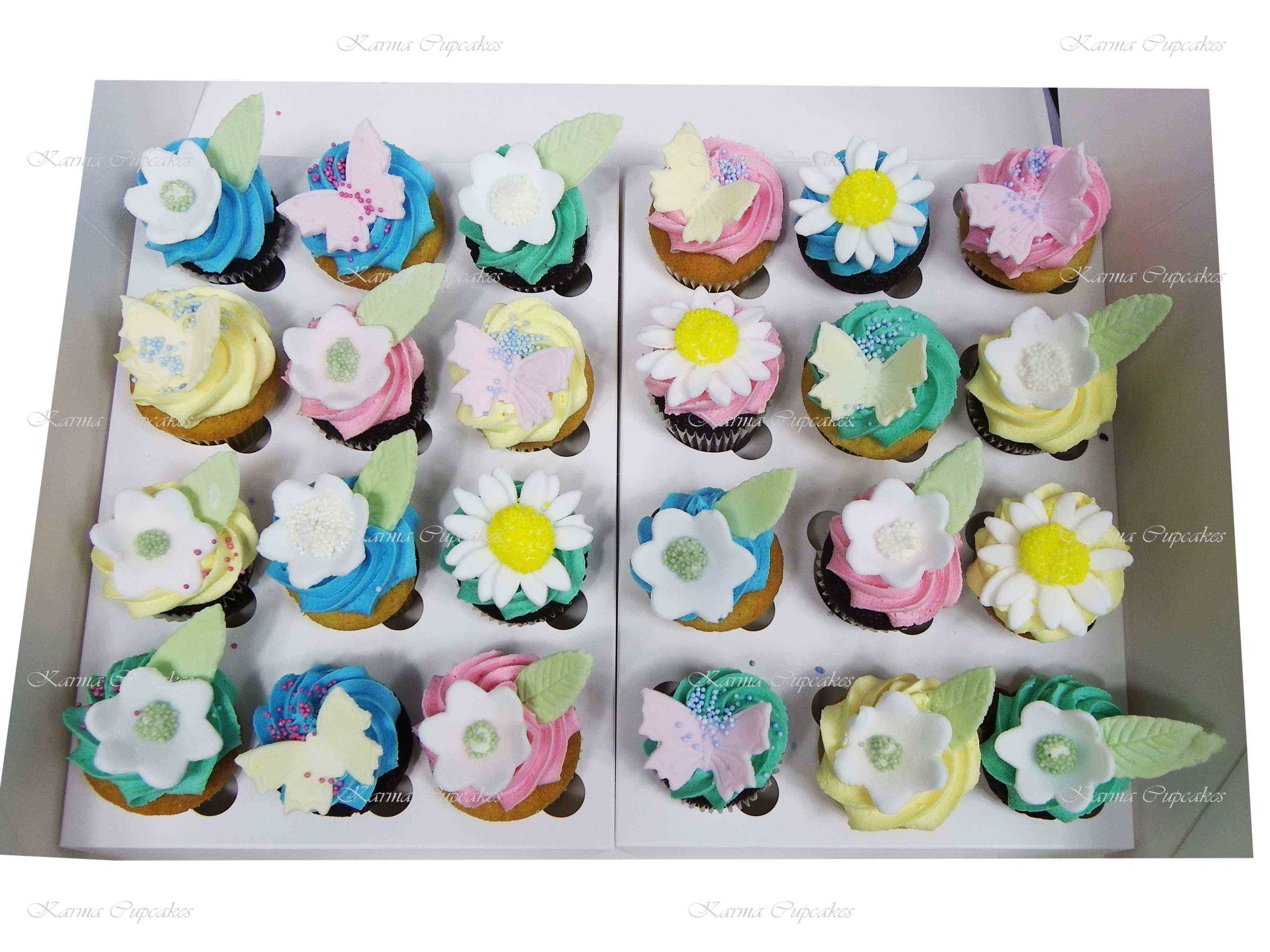 Assorted Butterfly and Flowers High Tea Cupcakes