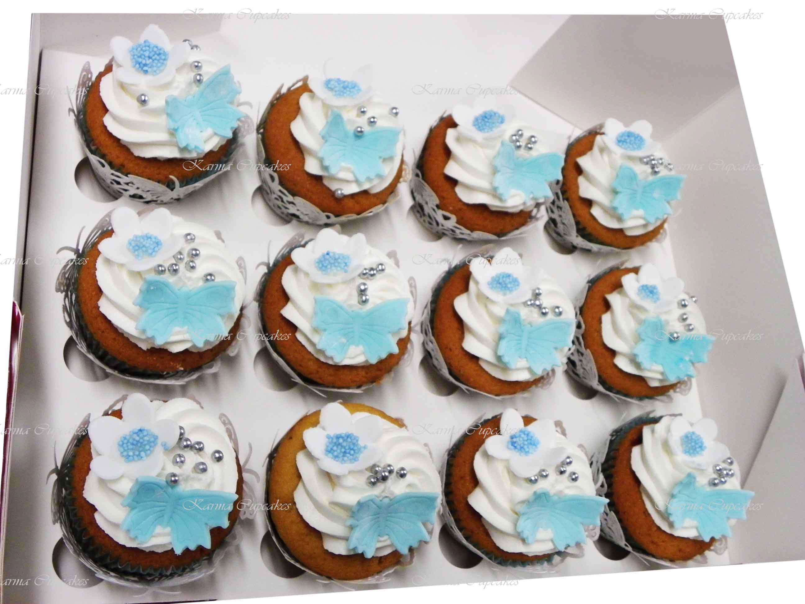 Blue and White Butterfly Cupcakes