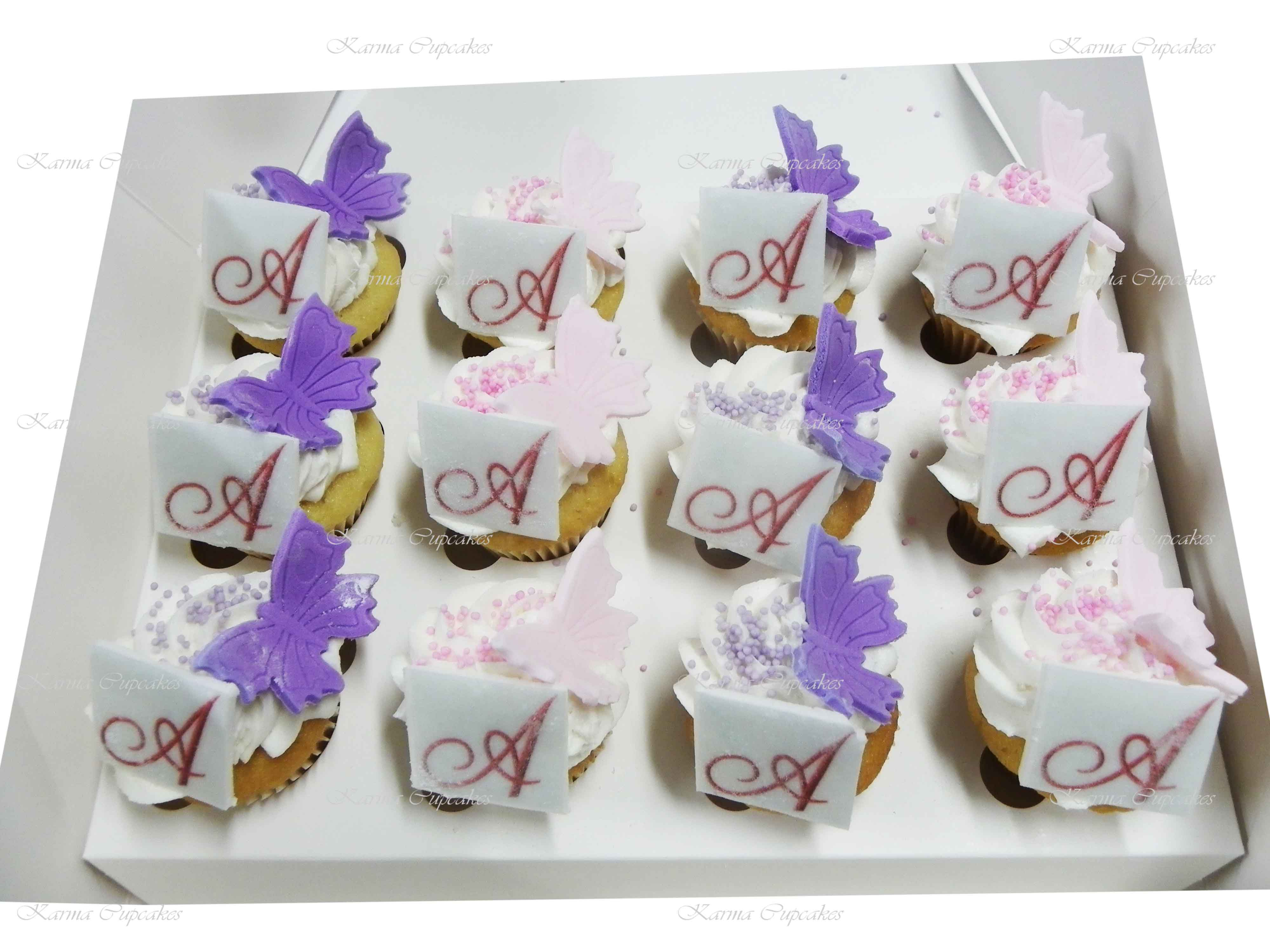 """Edible """"Initials"""" Images Cupcakes"""