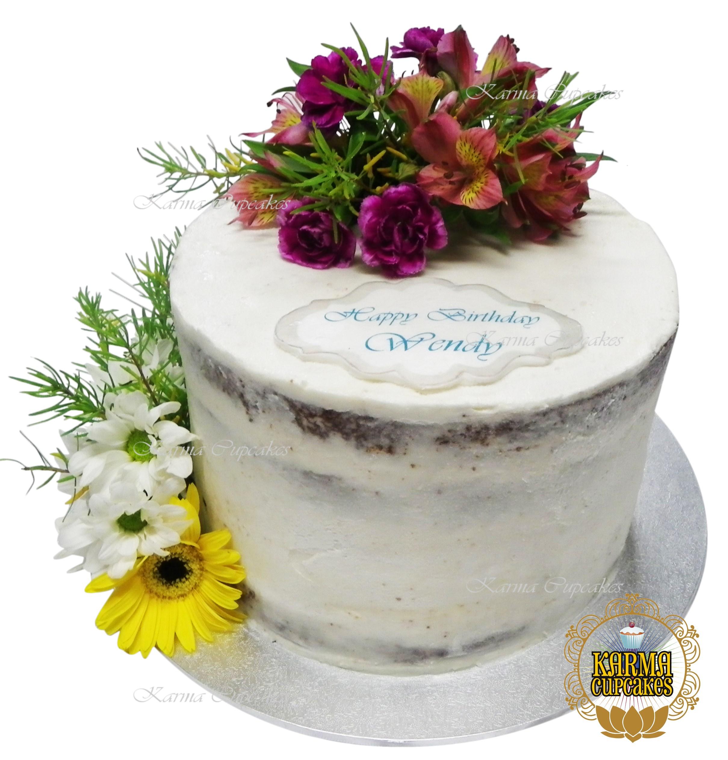 Double Layered Naked Cake (flowers extra)