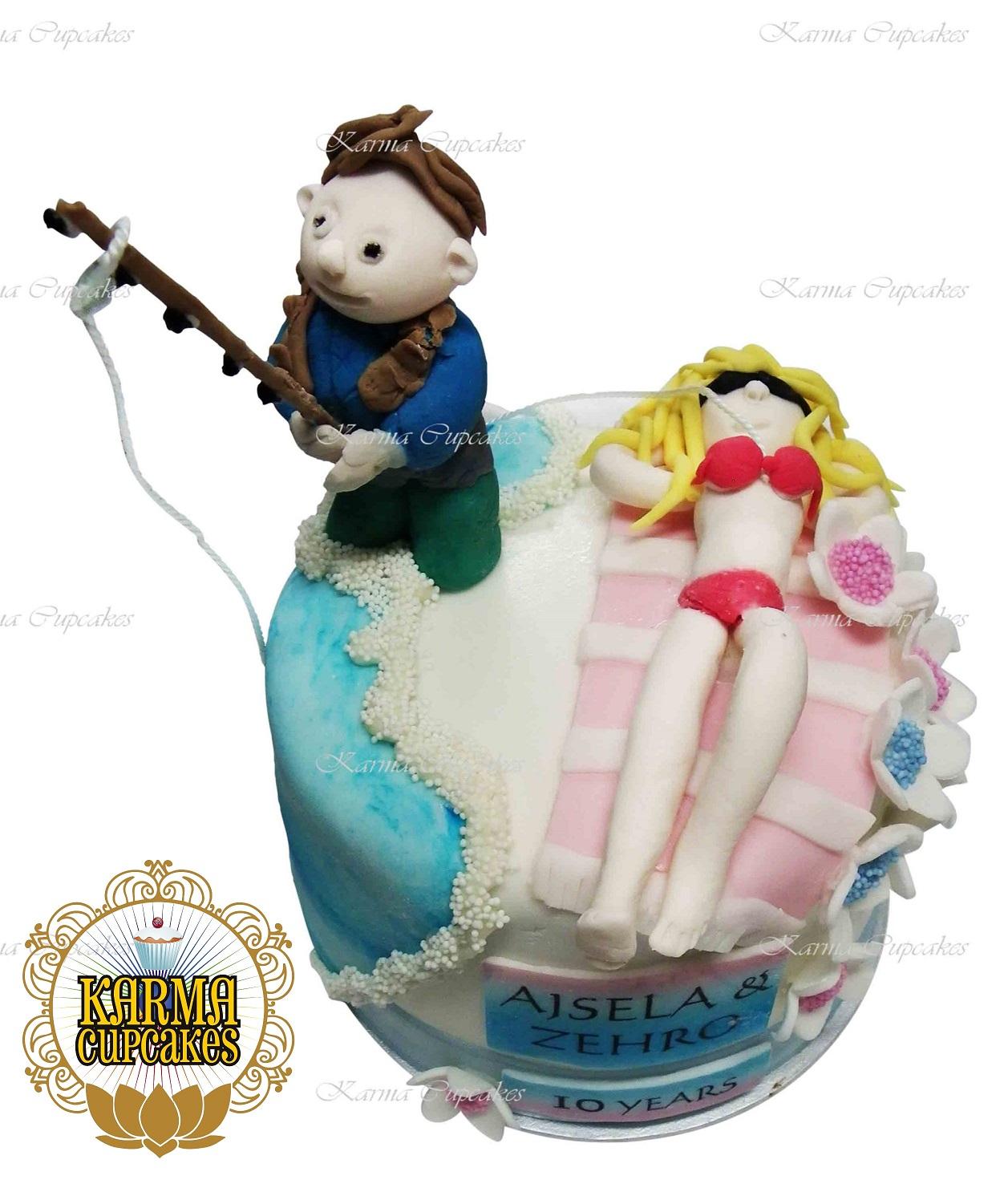 Fishing Husband with Sunbaking Wife Cake