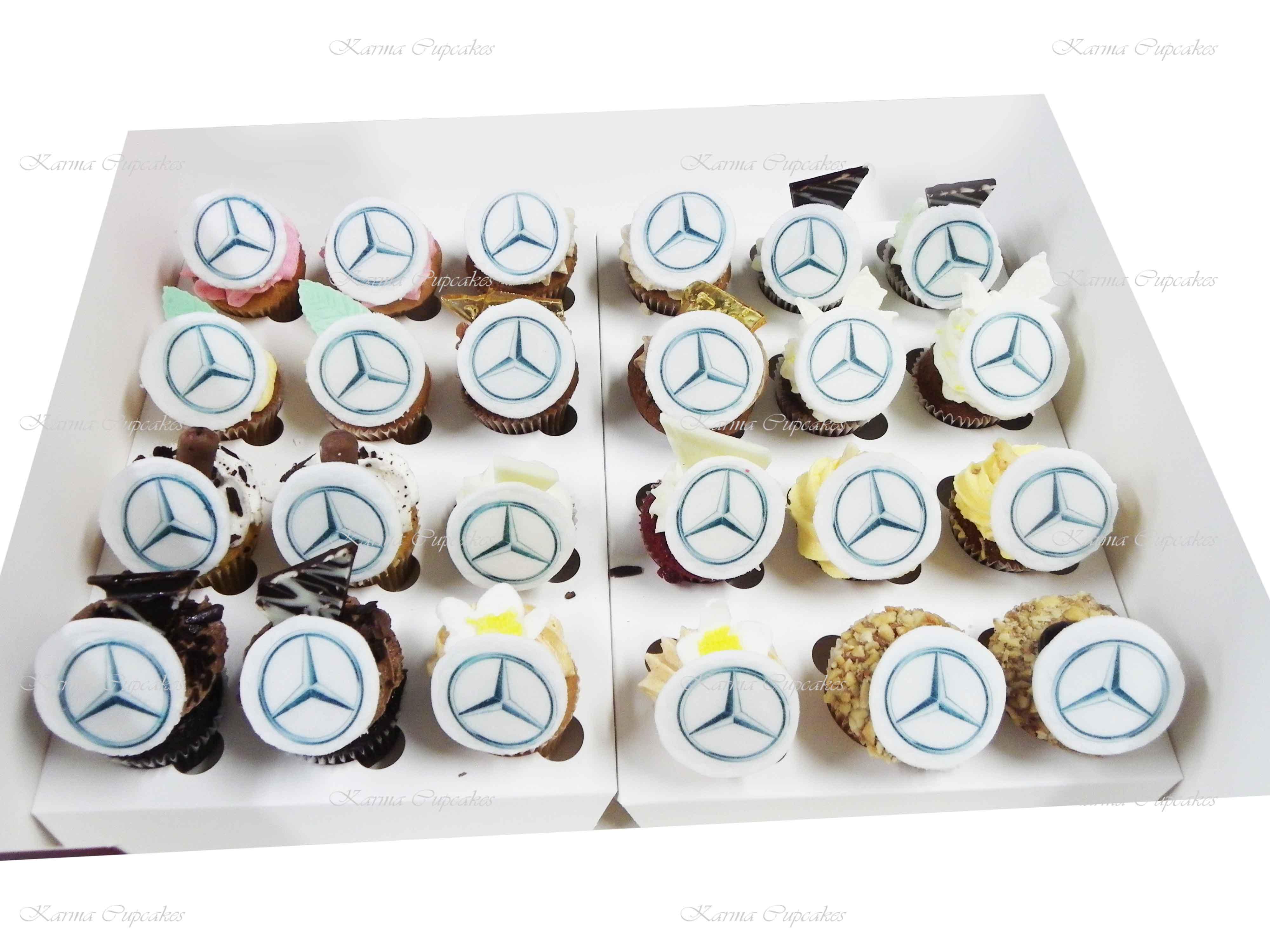 Round Logo on Gourmet Mini Cupcake - Min 24