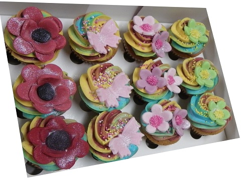 Mini Rainbow, Flowers and Butterfies Cupcakes