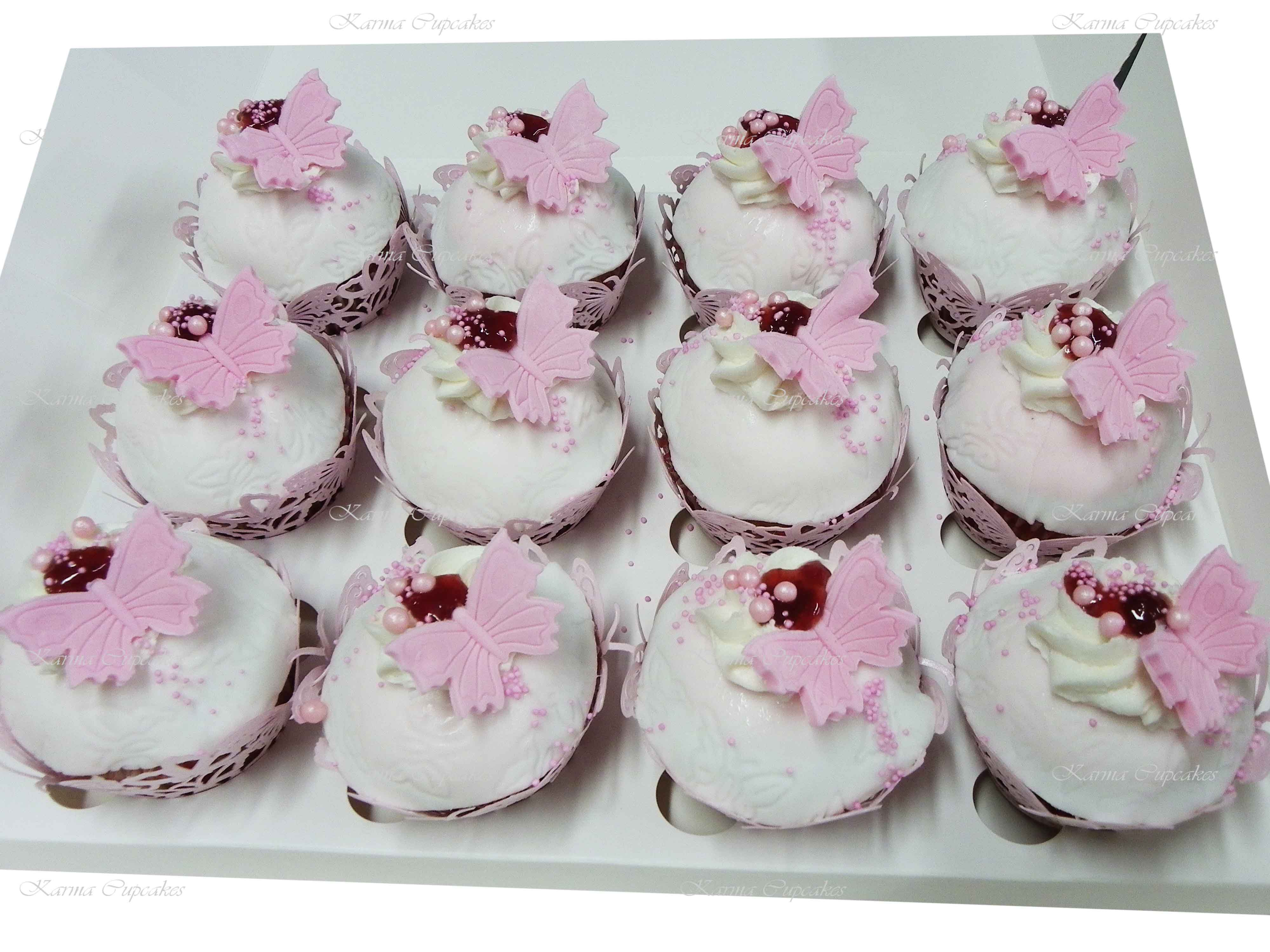 Gourmet Butterfly Cupcakes with Jam and lace wrappers