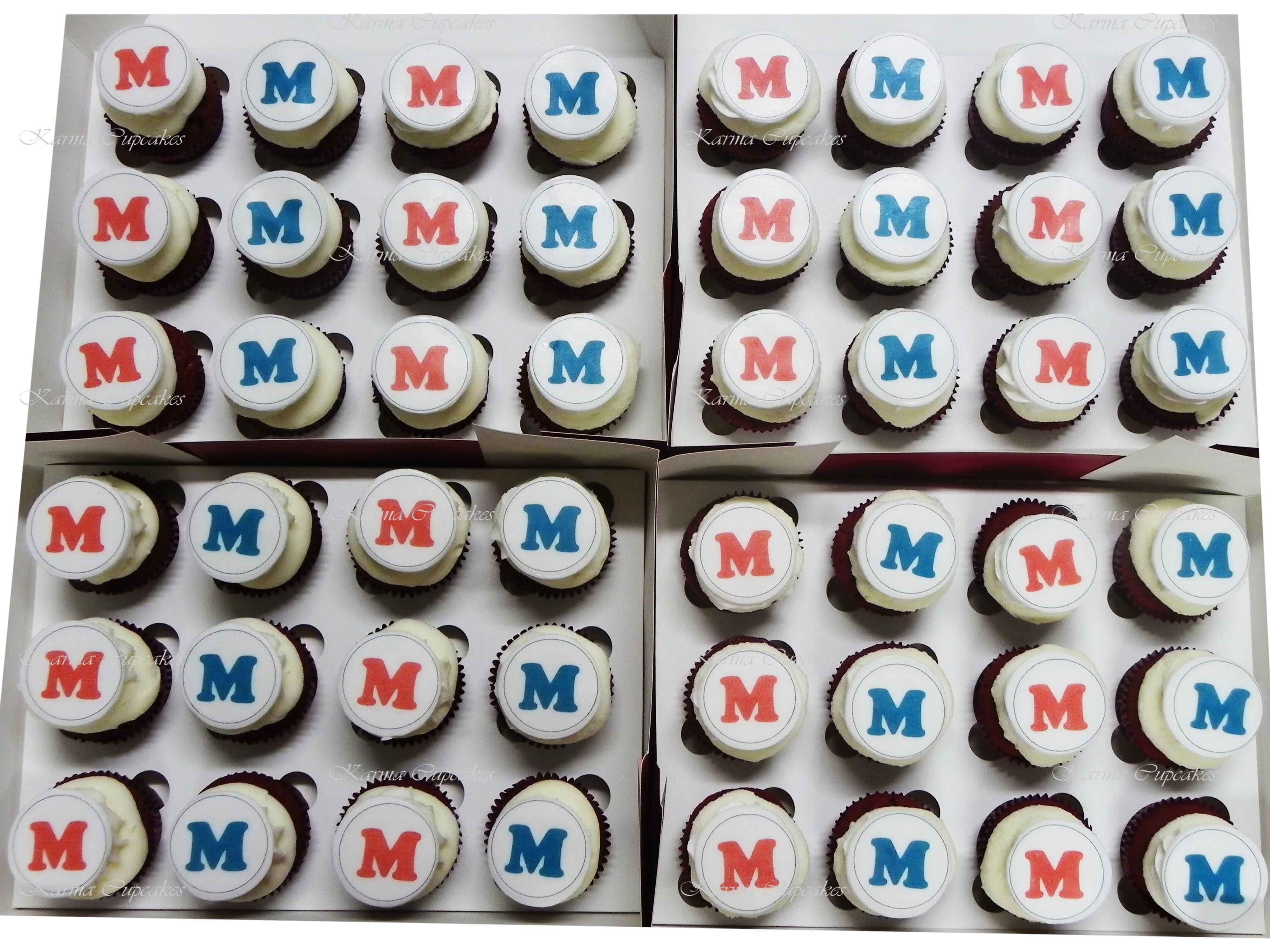 """Personalised """"Initials"""" High Tea Cupcakes- choose your colours"""