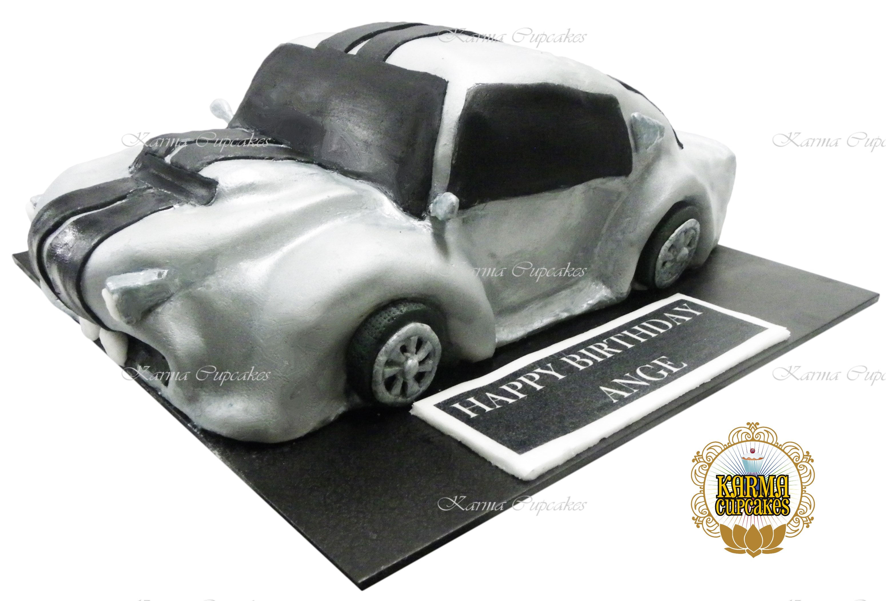 3D Car Cake with edible plaque