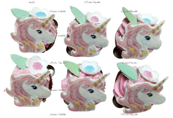 Unicorn Cupcakes with edible images