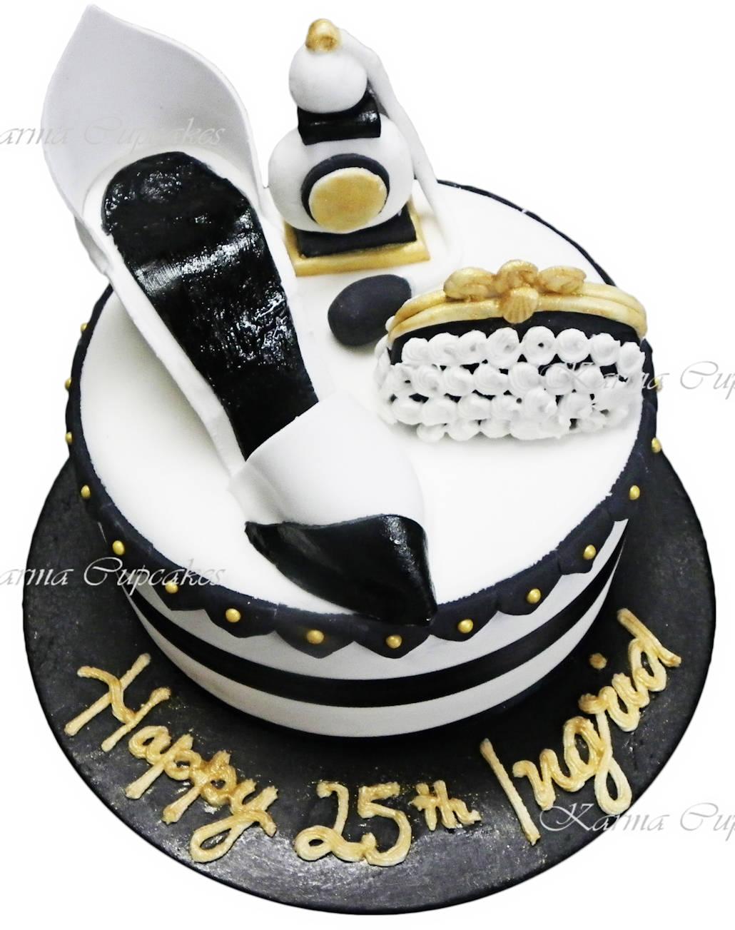 Shoe and purse birthday cake 3D sugar pieces copy