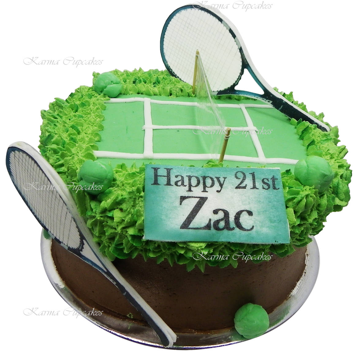 Tennis Court birthday cake with edible ball and rackets copy