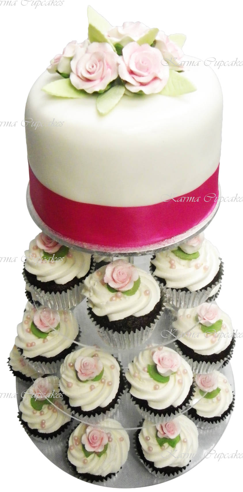 wedding cake with small roses and cupcakes. karma cupcakes copy