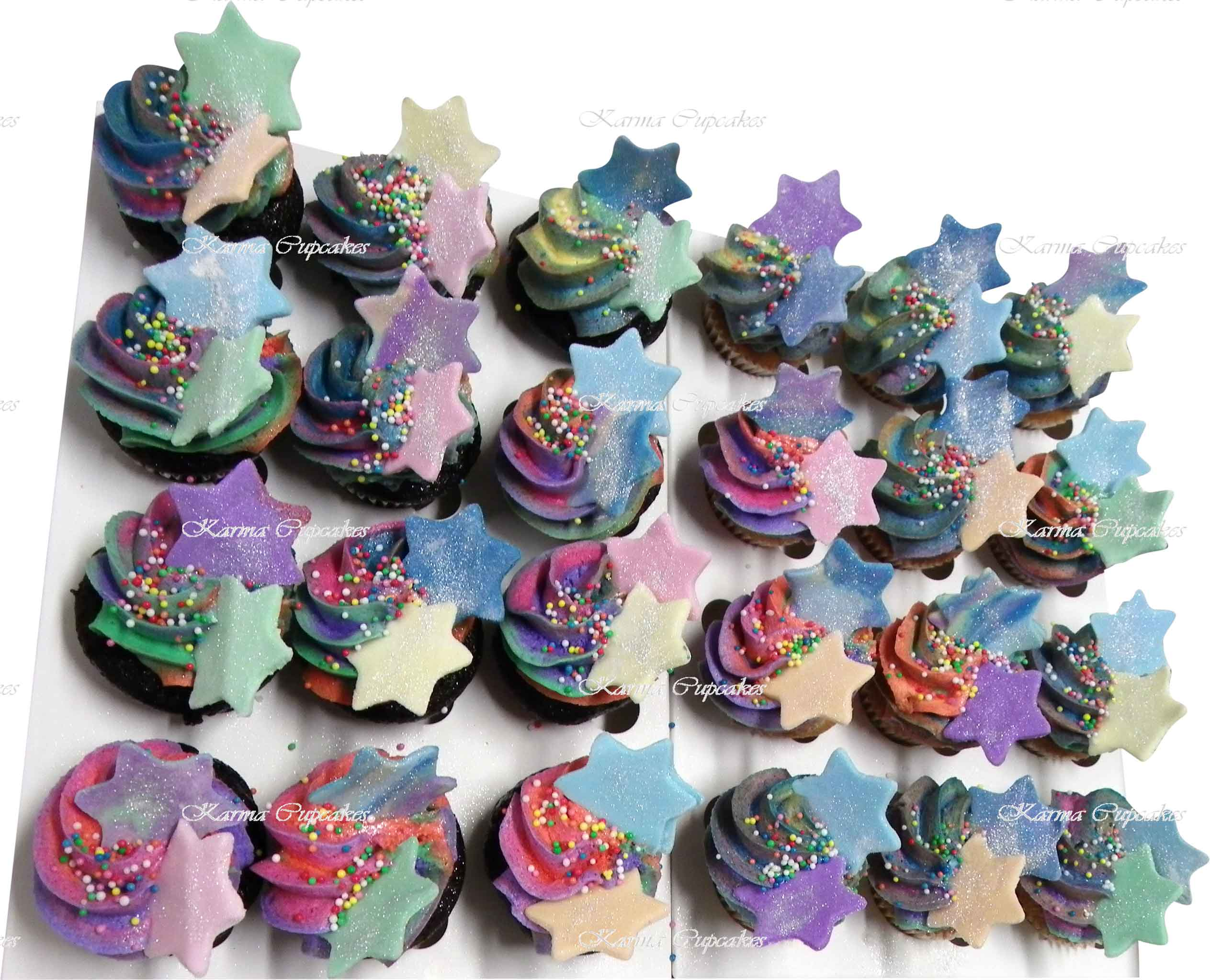Rainbow-mini-cupcakes-with-sparkly-suger-edible-stars-copy