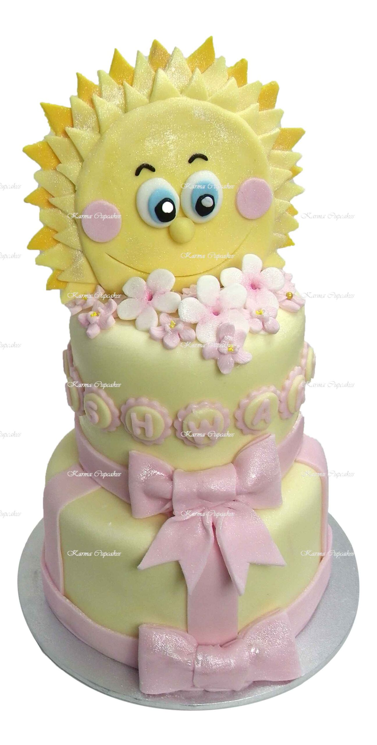 Yellow-2-tier-baby-shower-fondant-iced-happy-sun-cake-with-flowers (1)